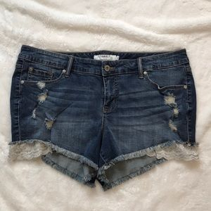Torrid jean shorts lace distressed size 16